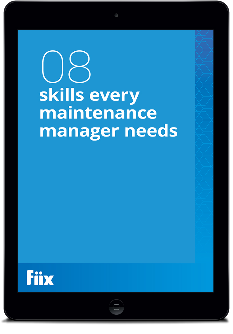 iPad with The 8 Skills of Maintenance Managers on screen