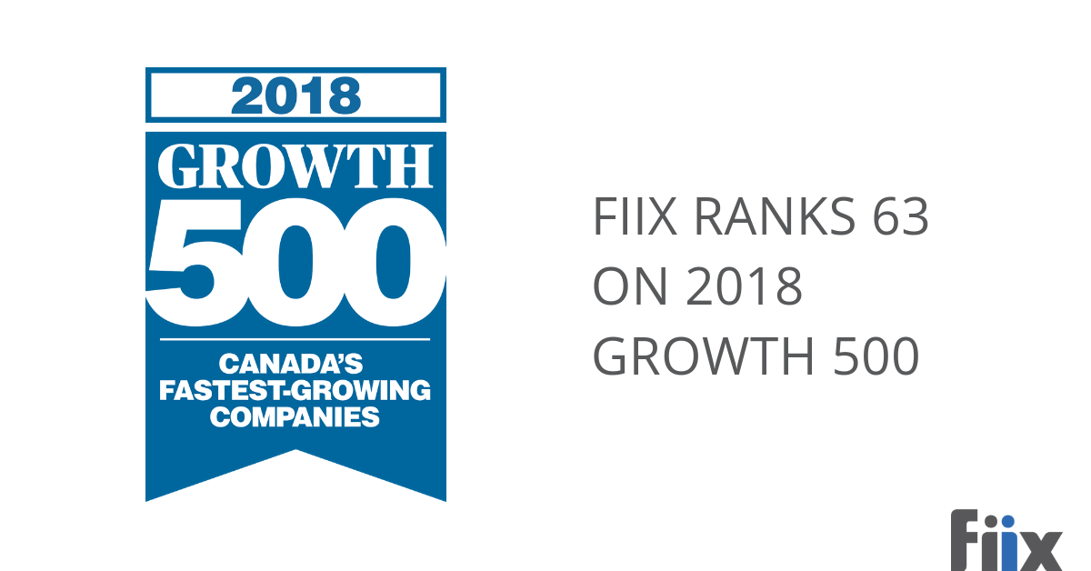 Fiix ranks 63 on 2018 Growth 500