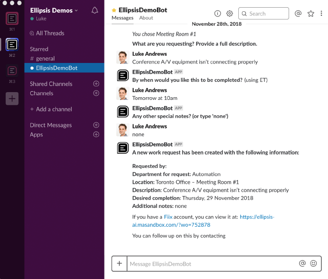 CMMS integrations: Example of Ellipsis platform, work order submission using Slack
