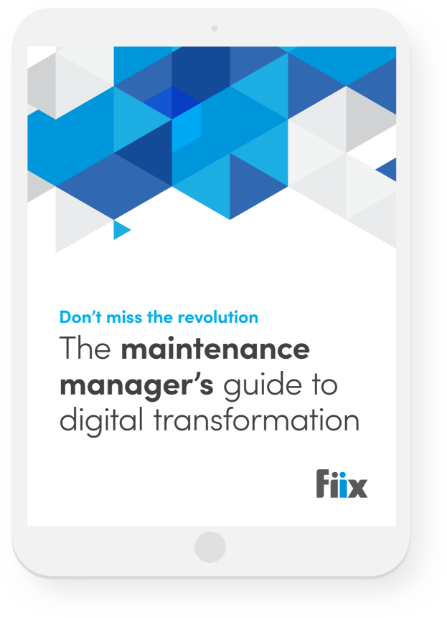 tablet with maintenance manager's guide to digital transformation graphic