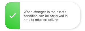 When changes in the asset's condition can be observed in time to address failure