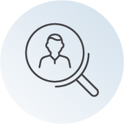 magnifying glass with person shown within glass icon