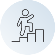 person walking up stairs icon