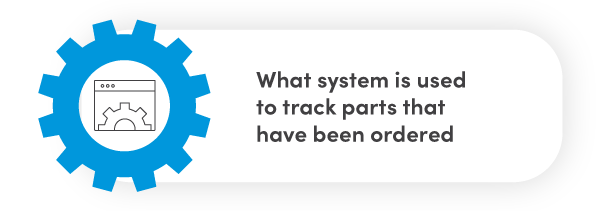 What system is used to track parts that have been ordered?