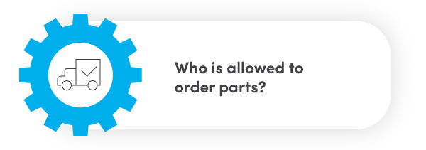 Who is allowed to order parts?