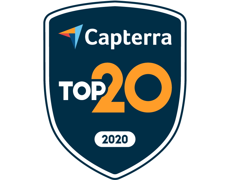 Capterra Top 20 winner 2020 badge