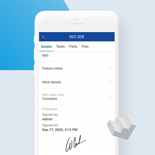 Example of work order signature screen