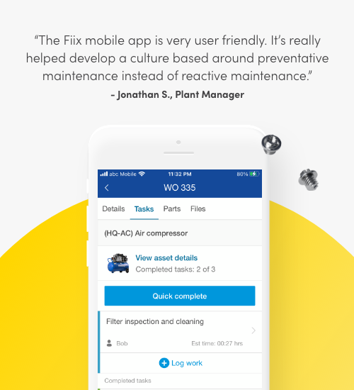 The Fiix mobile app is very user friendly. It's really helped develop a culture based around preventative maintenance instead of reactive maintenance. Jonathan S., Plant Manager