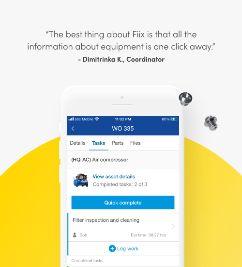 The best thing about Fiix is that all the information about equipment is one click away. Dimitrinka K., Coordinator