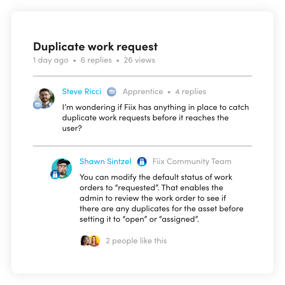 Community dashboard with Duplicate work request screen