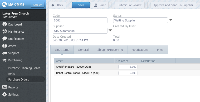 CMMS Purchase Orders