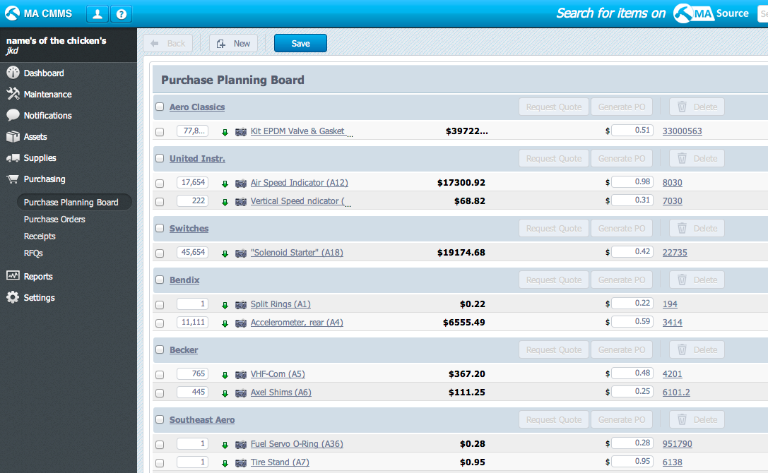 CMMS Purchase Module