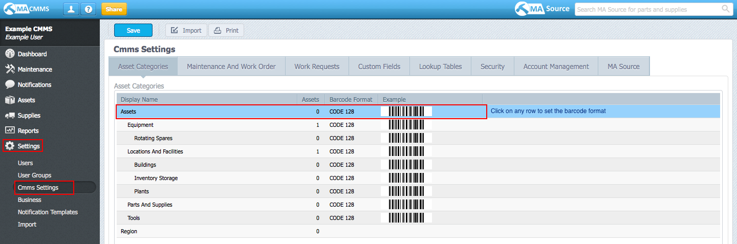 Edit your barcode settings from Settings > CMMS Settings