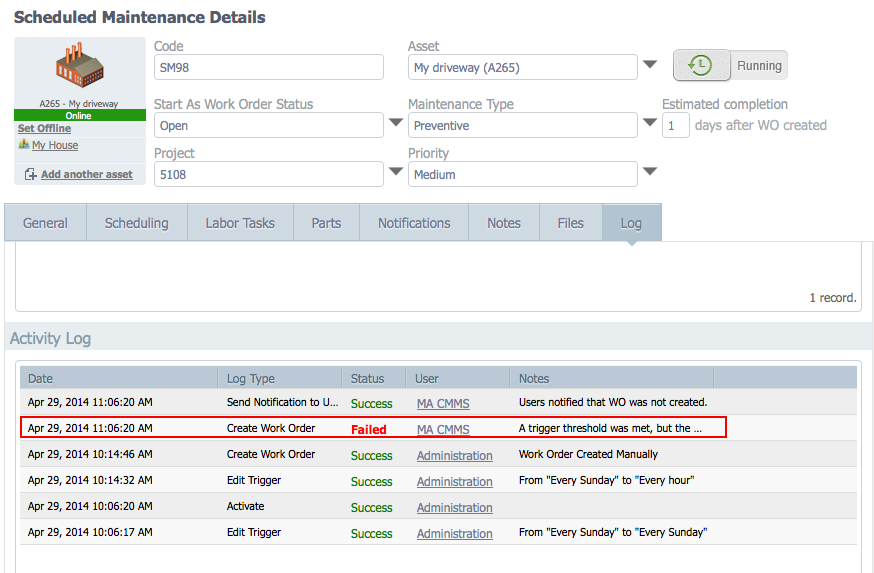 See the log of changes to each scheduled maintenance